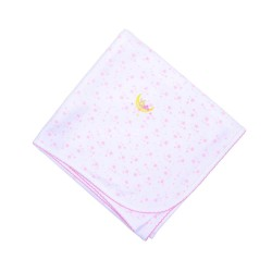 Pink Sleepy Bunny Embroidered Receiving Blanket