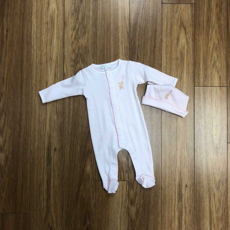 Bear with Pink Stripes Footie Set by Magnolia Baby