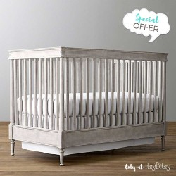 RH Baby Airin Spindle Crib & Marcelle Wide Dresser w/ Topper