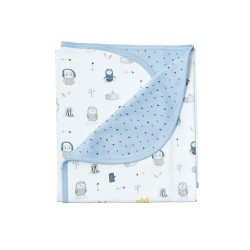 Noomie Blue Owls Double Layer Blanket