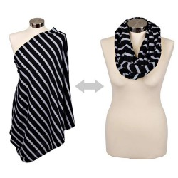Breastfeeding Scarf - Black w/ Grey Stripes