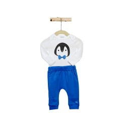 Noomie Blue Penguin Pants and Onesie Set